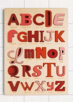 If It's Hip, It's Here: Handcrafted Eco-Friendly Font Puzzles For Typophiles Hand Made in Italy. Alphabet Magnets, Wooden Alphabet, Alphabet Book, Font Alphabet, Wooden Hand, Handmade Wooden, Friends Font, Porcelain Mugs, Lettering Design