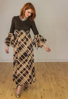Vintage 1970s Brown Abba Wide Sleeve  Boho by FlorrieJanesVintage