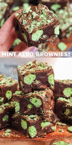 Deliciously Chocolatey and Minty, Mint Aero Brownies! Baking Recipes Uk, Tray Bake Recipes, Mint Recipes, Brownie Recipes, Sweet Recipes, Baking Ideas, Uk Recipes, Chocolate Easter Cake, Mint