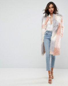 ASOS Patched Faux Fur Mongolian Coat | Winter Outfit Ideas | Winter Coats | Pink Coat | Faux Fur Coat | Cute Women's Coats