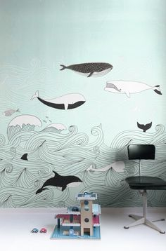 Kids' Room Ideas: Creating a Mural from Wallpaper Kids Wallpaper, Photo Wallpaper, Wallpaper Murals, Wallpaper Paste, Mural Painting, Mural Art, Ocean Nursery, Wall Drawing, Drawing Style
