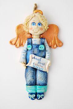 Anioł z masy solnej, aniołek dla chłopca, anioł z dedykacją,aniołek prezent, salt dough angel, salt dough ornaments,gohart