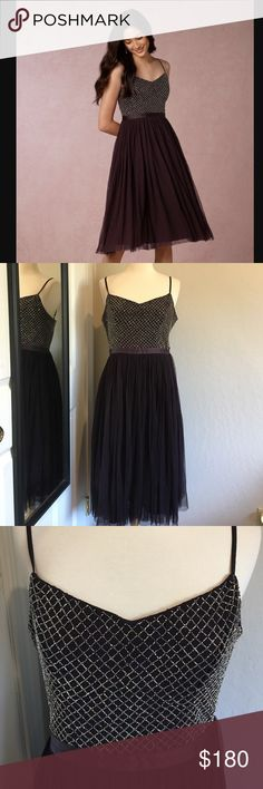 "Anthropologie Bhldn Coppelia dark purple dress NWT. Size 10. Adjustable shoulder straps. Bust across 17"". Waist across 15"". No trade. No model. Anthropologie Dresses"