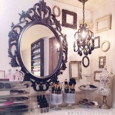 Spray paint a vintage mirror a bright color for a makeup/hair vanity!