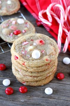 White Chocolate Peppermint M&M Cookies from www.twopeasandtheirpod.com #recipe #cookie #Christmas