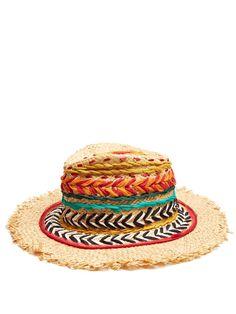 ETRO Woven silk and raffia panama hat. #etro #hat