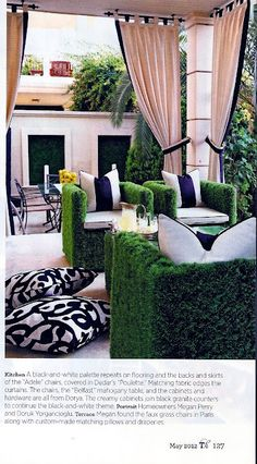 faux grass furniture from Paris via Traditional Home