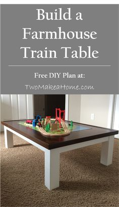 When the big box store train table we bought for our son was demolished, we built our own farmhouse style DIY train table. See how we did it!