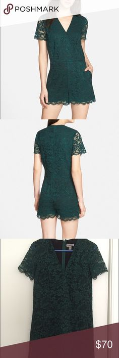 Chelsea28 evergreen lace romper Chelsea28 evergreen lace romper bought at Nordstrom last summer.  Worn once and is in perfect condition. Pair with a belt or wear as is. Chelsea28 Dresses