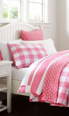Pink  white plaid and polka dot bedding