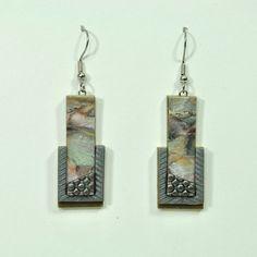Handmade Polymer Clay Faux Stone Earrings E14-12 by jangeisen