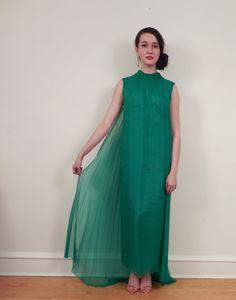 Vintage 1960s Formal Dress in Green Chiffon / 60s by BasyaBerkman