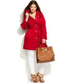 Michael Michael Kors Plus Size Hooded Belted Trench Coat