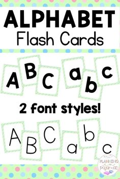Alphabet Flash Cards PERFECT for letter recognition, in a polka dot theme! Simple, easy to read fonts, with 2 options included - a more bold look, and a more narrow font. Uppercase and Lowercase included. Kindergarten Flash Cards, Kindergarten Learning, Preschool, Small Alphabet Letters, Alphabet Cards, Letter Activities, Writing Activities, Letter Flashcards, Word Wall Headers