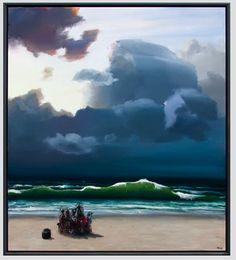 """The Green Wave"" - Poul Anker Bech Seascape Art, Artist At Work, Contemporary Artists, Danish, Villa, Waves, Clouds, Island, Vacation"