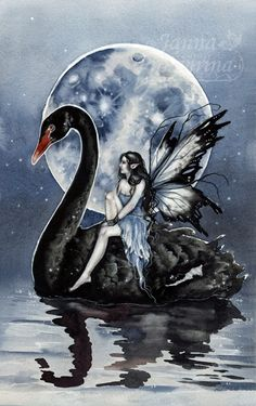 Black Swan by JannaFairyArt.deviantart.com on @DeviantArt