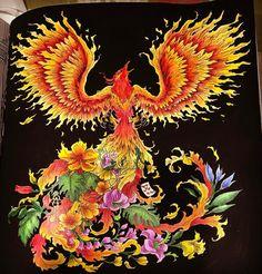 """7 mentions J'aime, 1 commentaires - Panda (@panda_colorss) sur Instagram: """"Phoenix  #kerbyrosanes #mythomorphia #prismacolor #acrylic"""""""