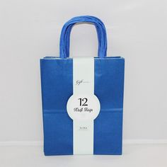 Medium Kraft Bags: Primary Royal Blue 12ct