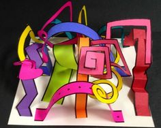 Hastings Elementary in Duncaville, TX Mrs. Marks Art Program: Line Sculpture-The students used construction paper,… Line Sculpture, Sculpture Lessons, Sculpture Projects, Paper Sculptures, Sculpture Ideas, 3d Art Projects, School Art Projects, 2nd Grade Art, Ecole Art