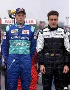 Very young Alonso with Kimi