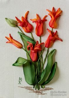 ribbon embroidery for sale. Ribbon Flower Tutorial, Ribbon Embroidery Tutorial, Silk Ribbon Embroidery, Crewel Embroidery, Cross Stitch Embroidery, Embroidery Patterns, Bow Tutorial, Ribbon Art, Diy Ribbon