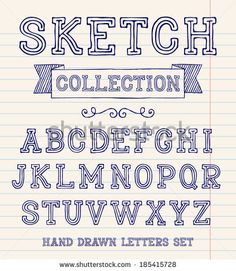 Vector set with hand written ABC letters. Sketch collection