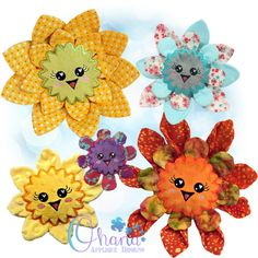Blossom Flower Stuffie Embroidery Design - Ohana Applique Designs - Applique Designs, Embroidery Designs, Blossom Flower, Photo Tutorial, Plushies, Little Ones, Machine Embroidery, Birthday Parties, Sewing Projects