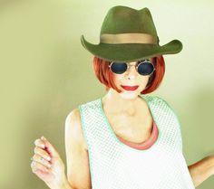 Men's Vintage Outback Hat - Cabela's Olive Green Felt Aussie Cowboy by LunaJunctionVintage on Etsy