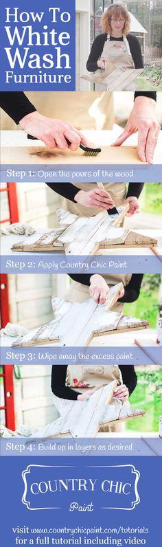How to white wash furniture | whitewashing tutorial #countrychicpaint - www.countrychicpaint.com/tutorials