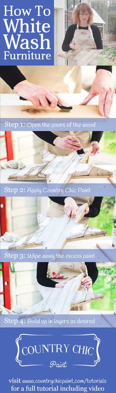 How to white wash furniture | whitewashing tutorial #countrychicpaint - www.countrychicpaint.com/tutorials