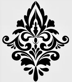 i made this as a stencil for my walls Damask Stencil, Stencil Patterns, Stencil Diy, Stencil Painting, Stencil Designs, Patterned Paint Rollers, Crochet Bedspread Pattern, Baroque Pattern, Ornaments Design