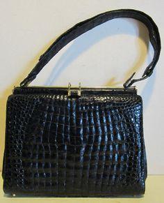 Vintage blue crocodile leather bag croco by HeavenlyVintageBags, $330.00