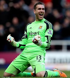 Feb 22nd 2014 : West Ham keeper Adrian celebrates a Kevin Nolan goal in a 3-1 win against Southampton