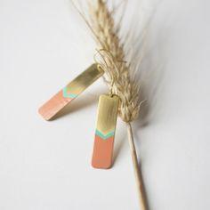 Brass Chevron Earrings - www.weshopamano.com