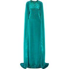 Oscar de la Renta Cape-effect embellished silk-satin gown ($5,695) ❤ liked on Polyvore featuring dresses, gowns, gown, blue and oscar de la renta