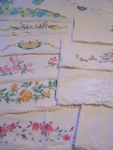 vintage embroidered pillowcases.  I have fond memories of my grandmother doing these.