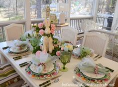 Between Naps on the Porch | Camellia Centerpiece for an Easter or Spring Table Setting | http://betweennapsontheporch.net