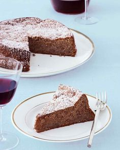 Passover Dessert Recipes | Martha Stewart Living - Apples cooked in sweet kosher wine are folded into the batter of this simple flourless cake and enhance its rich, nutty flavor.