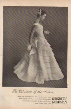 1955 Bergdorf Goodman Department Store NY Women's Debutante Dress 50s 20th Century Fashion, 50s Dresses, Absolutely Gorgeous, No Frills, Frocks, Vintage Outfits, Vintage Ideas, Step Inside, Bergdorf Goodman