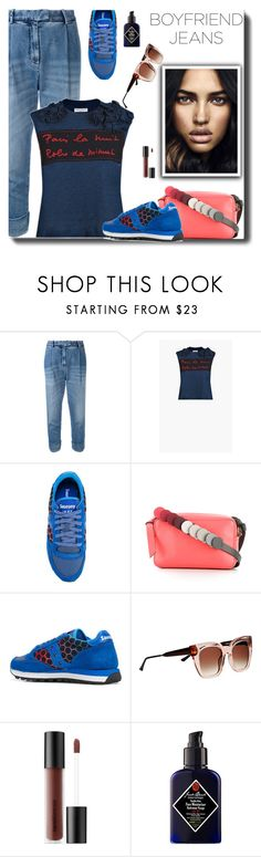 """Boyfriend Jeans"" by carolinez1 ❤ liked on Polyvore featuring Eleventy, Saucony, Anya Hindmarch, Thierry Lasry, Bare Escentuals, Sephora Collection, boyfriendjeans, WhatToWear, polyvorecommunity and Polyvoreeditoral"