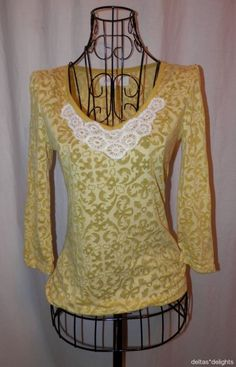 LILKA TOP XS Yellow White Days Gone By Tee 3/4 Sleeve Burnout ANTHROPOLOGIE #Lilka #KnitTop #Casual