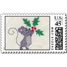 Christmas Mouse Cross Stitch stamp