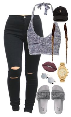 """""""8.8.16"""" by mcmlxxi ❤ liked on Polyvore featuring Topshop, Lime Crime and Michael Kors"""