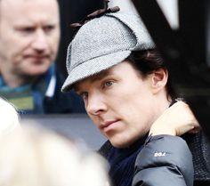 Benedict Cumberbatch shooting Sherlock series 3: The Empty Hearse (Mark Gatiss behind)