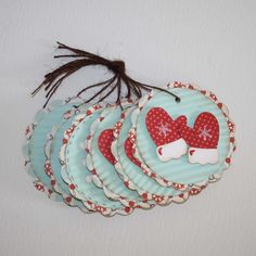 Christmas tags  Mittens and snowflake tags in by JillyBearDesigns, $7.50