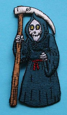 ID 0886 Grim Reaper Halloween Trick Treat Embroidered Iron On Applique Patch on Etsy, $3.99