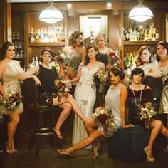 Wedding Photos Love the Great Gatsby and Roaring Twenties? Check out this inspired wedding party! Roaring 20s Wedding, Great Gatsby Wedding, 1920s Wedding, The Great Gatsby, Art Deco Wedding, Wedding Pics, Wedding Styles, Dream Wedding, Roaring Twenties