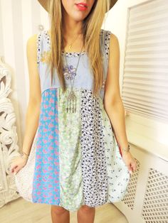 SACRED THREADS Indian Ethnic Floral Hippy Boho Chic Pagan PATCHWORK Dress M 12