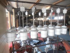 Graet hanging industrial lamps 40 pieces on stock Like new but from old stock from a factory Cost 75 euro a piece