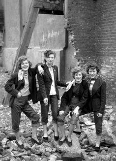 This picture captures a certain joie de vivre that is implicit in the quaintrelle...    London Female Teds (I), by Ken Rusell 1955
